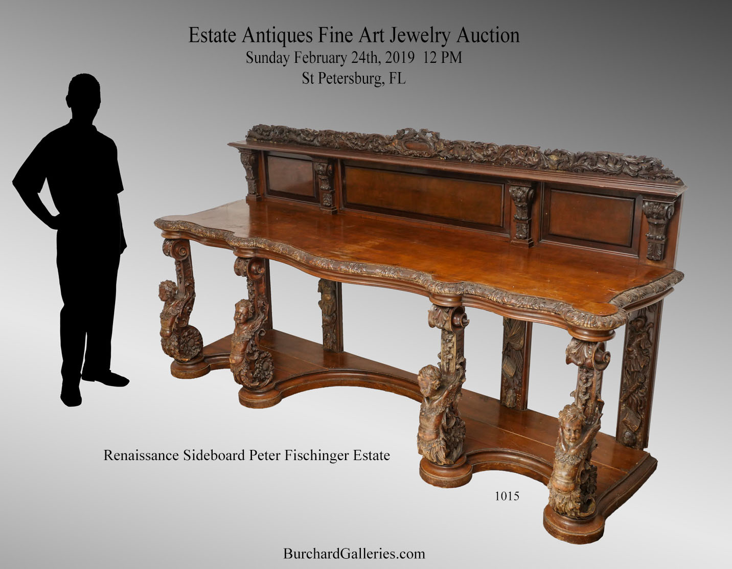 Carved Marble Fischinger Estate Continental Sideboard ... - Antique Auction Calendar - Burchard Galleries