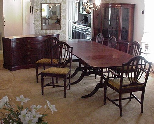 5 Real Leather Ox Blood Studded Captain Chairs And Matching Pedestal Claw Foot D Highly Polished Furniture