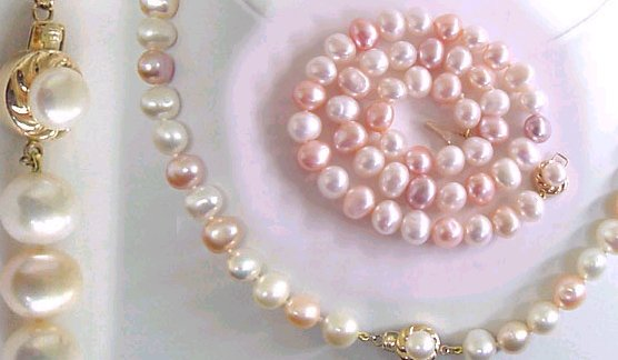 """13x18mm Natural Fuchsia Jade Oval Gemstone Pink Fresh water Pearl Necklace 18/"""""""