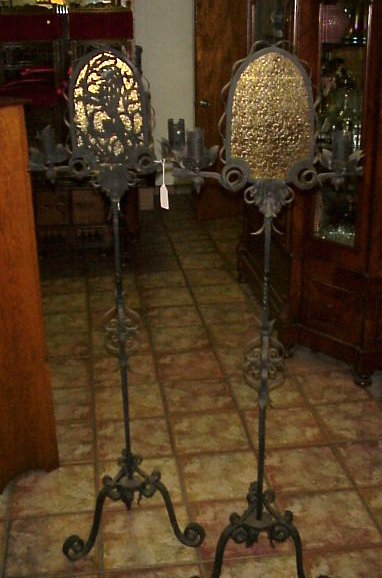 43A PAIR OF WROUGHT IRON TORCHIERES 3 Light Candle Holders With Amber Glass Inserts 61h