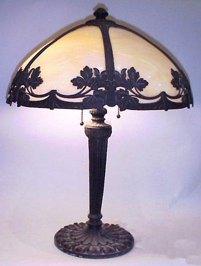 45A MILLER SLAG GLASS TABLE LAMP Dome Shaped Shade 6 Panels Of Curved Caramel Slag Glass 2 Light Pull Chains Cast Metal Base Signed Miller 971