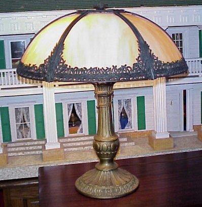 48A SLAG GLASS TABLE LAMP Domed Filagree Metal 6 Panel Carmel Slag Shade 19 Dia Double Socket Pull Chains Bronzed Base Round Bottom 22h