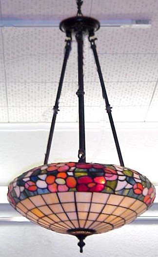 53B VINTAGE LEADED GLASS HANGING LIGHT FIXTURE In The Style Of Duffner And Kimberly 3 Bronze Supports A Center Electrified Stem Seems To Be Intact