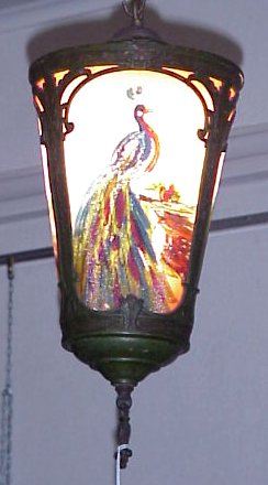 53C CEILING LIGHT WITH REVERSE PAINTED RIBBED GLASS SHADE CA 1920S Painted In A Peacock Motif