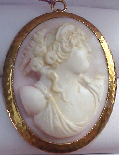 78dfec23d 13B, CAMEO PIN/PENDANT: Delicately carved cameo of soft shell in lovely  pink shading, depicts the profile of a patrician woman, framed in 10k  yellow gold in ...