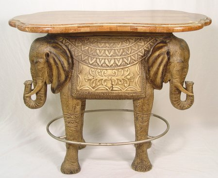 CONTEMPORARY EXOTIC ELEPHANT BAR TABLE: The Base Is In The Form Of Two  Headed Elephant, The Faux Marble Top Is Hour Glass Shaped.