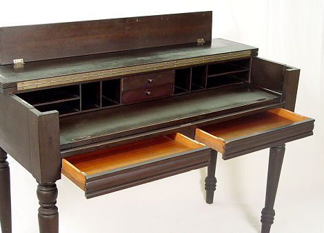 EARLY 20TH C MAHOGANY SPINET DESK: H.E.Shaw Furniture Co., Grand Rapids  Mich. 1911 1933. Interior Of Pigeon Holes And Drawers. 34u0027u0027h. X 48u0027u0027x 21u0027u0027.