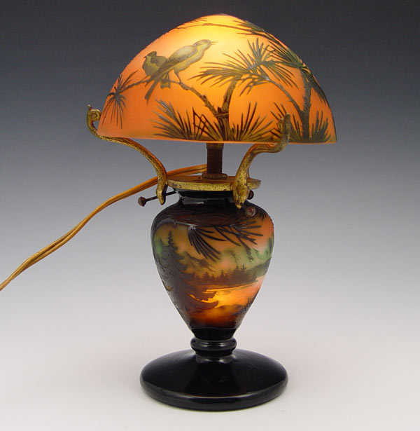 French Cameo Glass Lamp Shade
