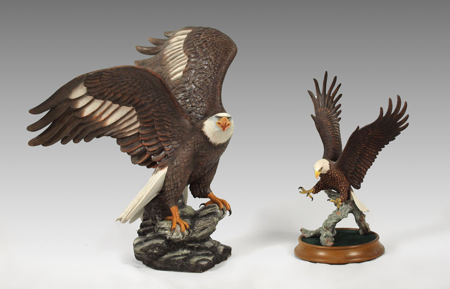 Majestic American Eagle Sculpture Porcelain Figure Of Bald Perched On A Rock With Wings Spread By Ronald Van Ruyckevelt The Franklin Mint