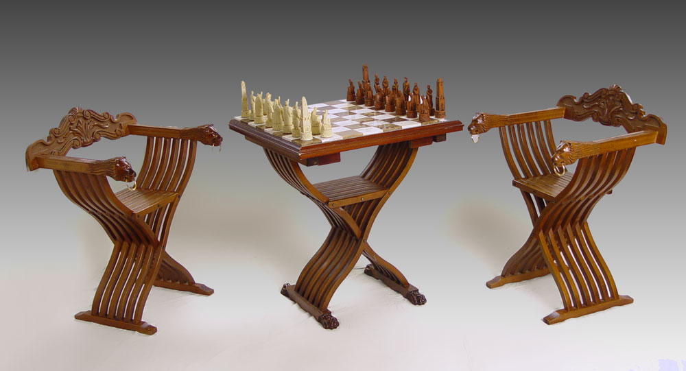 Lot 279 3 Piece Savonarola Chess Table And Chairs