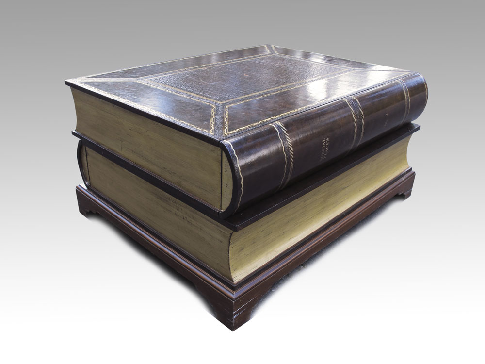 Lot 194. LEATHER COVERED STACKED BOOK COFFEE TABLE: ...