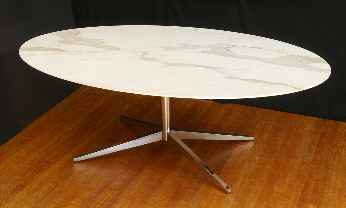 Lot 1257 Florence Knoll Mid Century Dining Conference Table Oval Marble