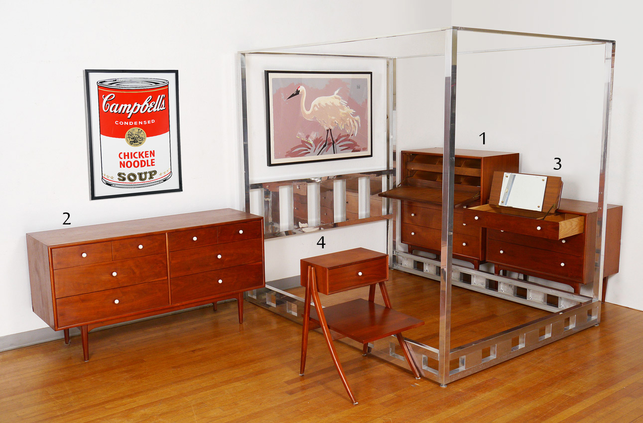 DREXEL DECLARATION AMERICAN MID CENTURY MODERN BEDROOM FURNITURE: 4 Piece  Group, Designed By Kip Stewart. Includes The Tall Gentlemanu0027s CHEST With  Shirt ...